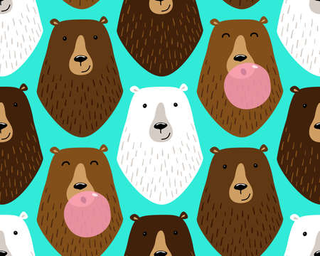Cute childish seamless pattern with cartoon characters of different bears and bubble gum