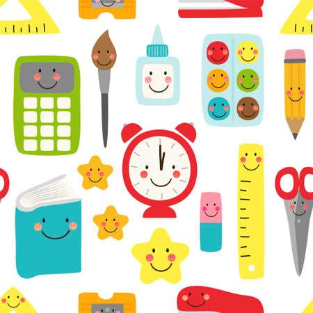 かわいい子供っぽいシームレスなパターン笑顔の漫画のキャラクターとして学校用品に戻ります