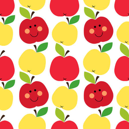 Cute childish seamless pattern as smiling cartoon characters of apples for your decoration