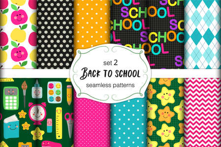 Cute set of Back to School childish seamless patterns