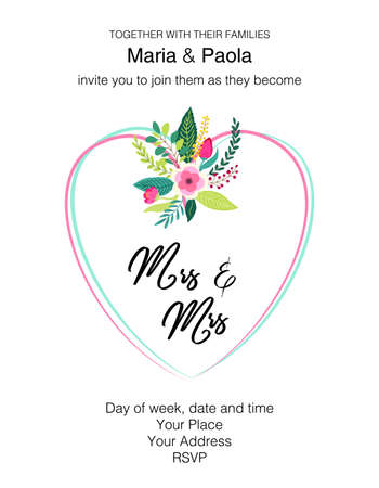 Beautiful feminine wedding floral invitation for same-sex couple