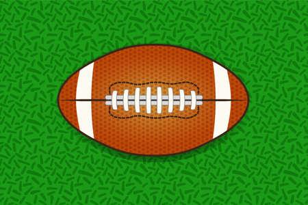Illustartion of american football ball isolated on green grass