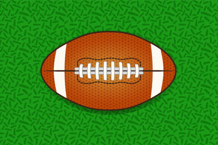 Illustartion of american football ball isolated on green grass