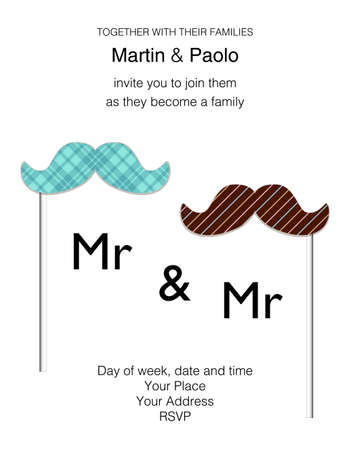 Beautiful minimalistic wedding invitation for same-sex couple Illustration