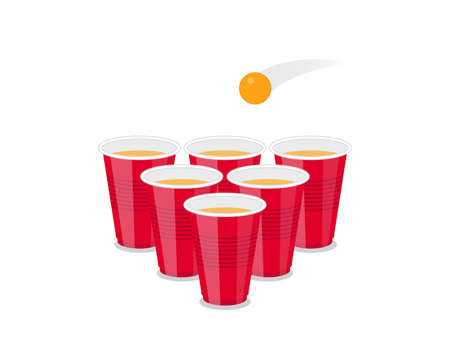 Beer Pong Tournament flyer as red cups and ping pong ball