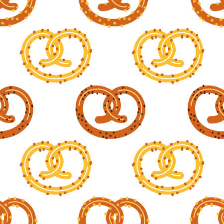 Cute pretzel seamless pattern, octoberfest snack bread wallpaper background isolated on white for your decoration