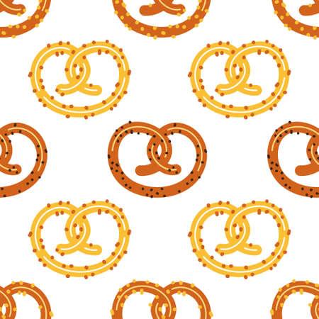 Simpatico motivo pretzel senza soluzione di continuità, sfondo di carta da parati per spuntino octoberfest pane isolato su bianco per la tua decorazione