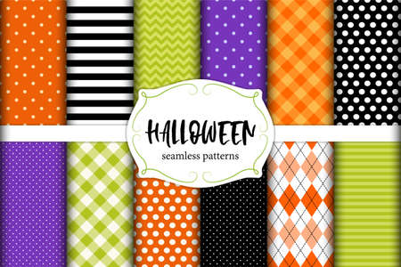 Cute set of Halloween seamless geometric patterns in traditional colors for your decoration