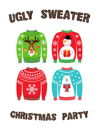 Striscione carino per la festa di Natale del maglione brutto per la tua decorazione