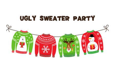 Lindo banner para la fiesta de Navidad de Ugly Sweater para tu decoración Ilustración de vector