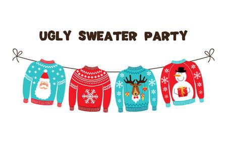 Lindo banner para la fiesta de Navidad de Ugly Sweater para tu decoración