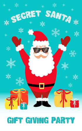 Cute Secret Santa Party flyer with cartoon character of Santa claus in dark sunglasses