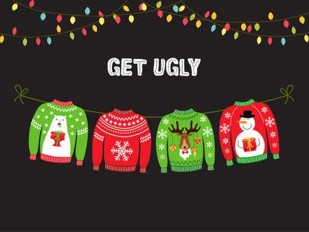Striscione carino per la festa di Natale del maglione brutto per la tua decorazione Vettoriali