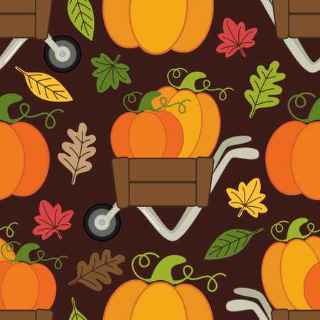 Cute Pumpkin Patch seamless pattern with different pumpkins in wheelbarrow for your decoration
