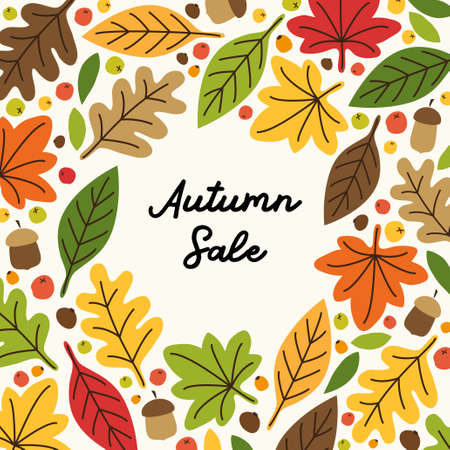 Cute Autumn Leaves frame can be used for shopping sale or promo poster and frame leaflet or web banner Vector Illustration