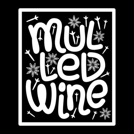 Cute Mulled Wine hand drawn typographic elements lettering on blackboard background for your decoration