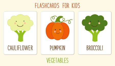 Set of cute vegetables cards for kids education illustration