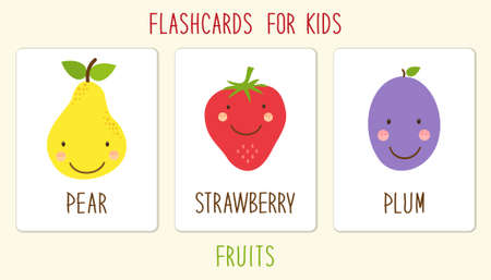 Set of cute fruits cards for kids education illustration