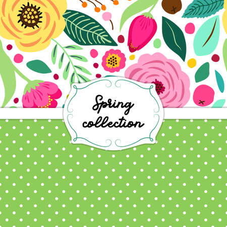 Cute retro card template with hand drawn rustic flowers for your decoration