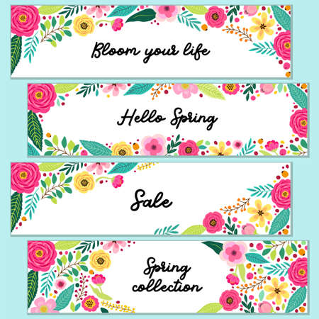 Cute set of Spring Flowerss horizontal banners can be used for shopping sale or promo poster and frame leaflet, social media banner Çizim