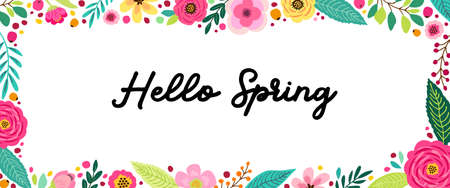 Cute Spring Flowers horizontal banner can be used for shopping sale or promo poster and frame leaflet, social media banner