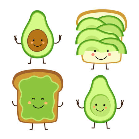Cute hand drawn cartoon characters of avocado and toast for your decoration