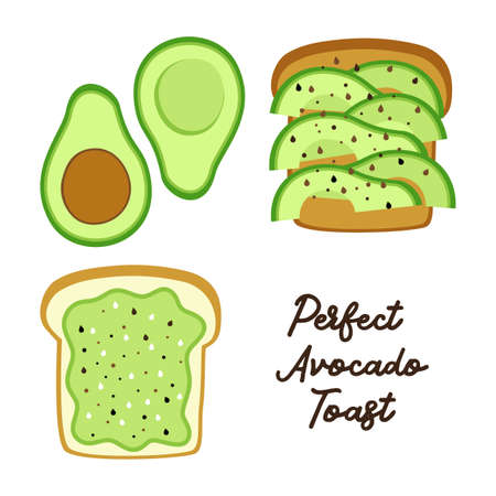 Perfect Avocado Toast as bread with slices and sandwich with mixed avocado and sesame seeds for your decoration