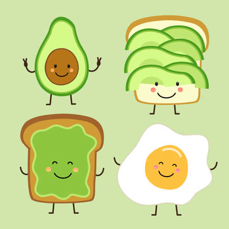 Cute hand drawn cartoon characters of avocado, toast and fied egg for your decoration