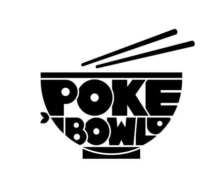 Poke Bowl Hawaiian Cuisine Restaurant Healthy Food Fish Menu Logo Lettering