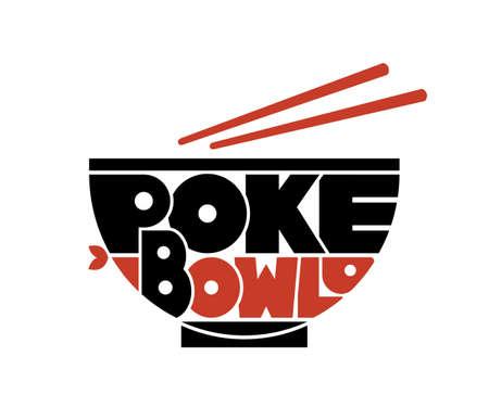 Poke Bowl Cuisine Hawaïenne Restaurant Aliments Sains Menu Poisson Logo Lettrage