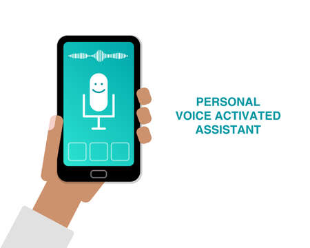 Hand holding cell phone with app of personal voice activated assistant flat illustration