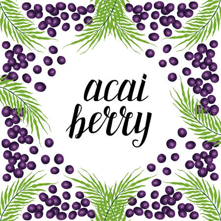 Cute frame with acai berries, hand drawn elements with calligraphic lettering for your decoration