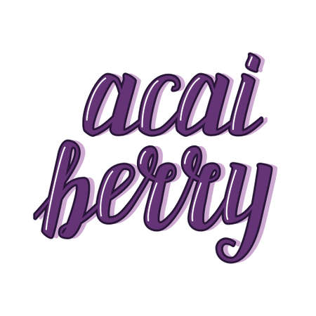 Cute acai berry calligraphic lettering for your decoration Illustration