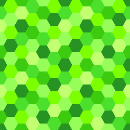 Geometric Seamless Abstract Background with Hexagon shapes as mosaic pattern in trendy 2019 color UFO Green for your decoration