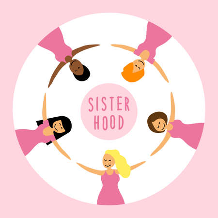 Happy women or girls as union of feminists, sisterhood as flat cartoon characters for your decoration