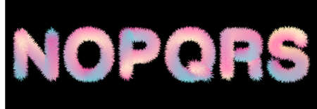 Cute soft fur letters in 80s style in pastel rainbow colors for your decoration