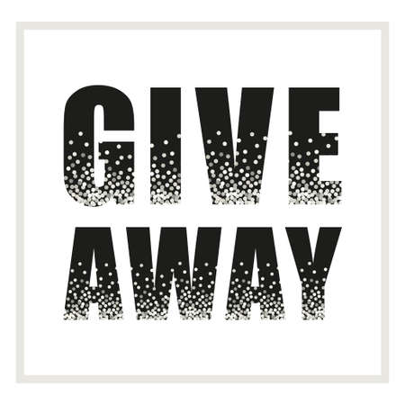 Eye-catching silver glitter confetti frame Giveaway for promotion in social network, advertizing of giving present for like or repost