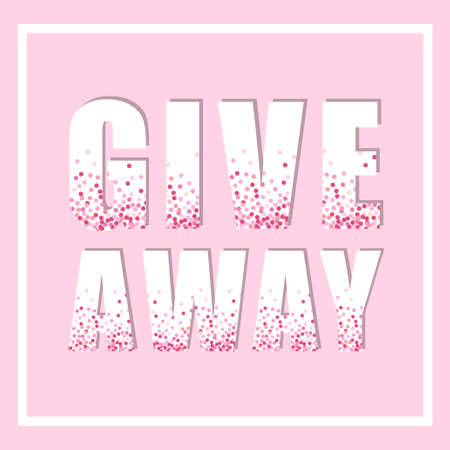 Eye-catching pink glitter confetti frame Giveaway for promotion in social network, advertizing of giving present for like or repost