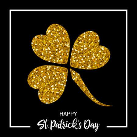 Festive St. Patricks Day holiday design banner with magic sparkling glitter clover leaf Ilustração