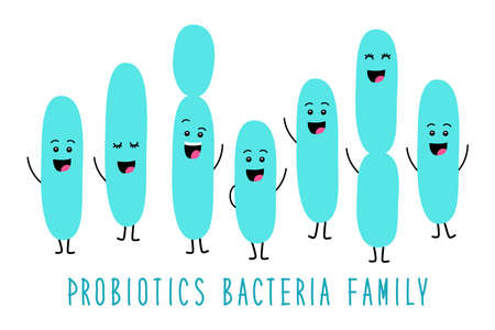 Funny probiotics bacteria family cartoon characters isolated on white, gut and intestinal flora, set in flat style Çizim