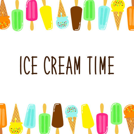 Cute Ice Cream collection background in vivid tasty colors ideal for banners, package etc
