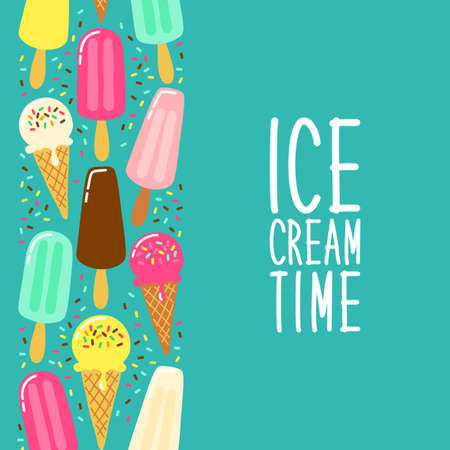Cute Ice Cream collection background in vivid tasty colors for your decoration, ideal for banners, package etc