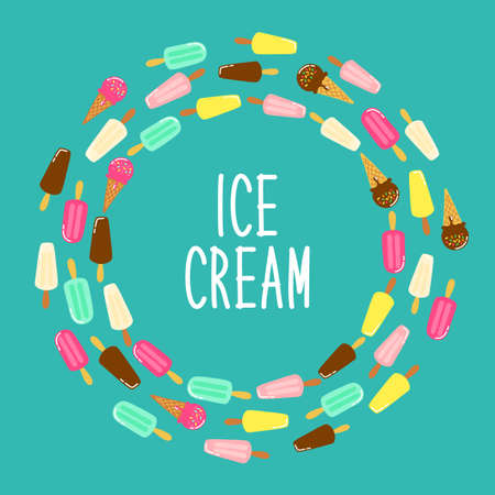 Cute Ice Cream collection frame background in vivid tasty colors for your decoration, ideal for banners, package etc Stock Illustratie