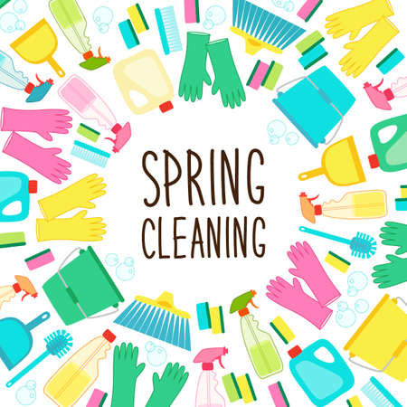 Cute spring cleaning utensils background in vivid eye catching colors and hand written text
