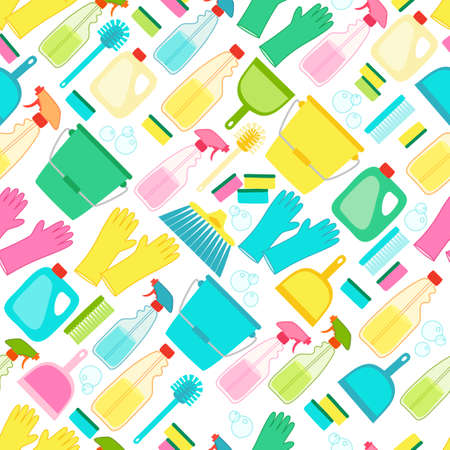 Cute spring cleaning utensils seamless pattern background in vivid eye catching colors and hand written text Illustration