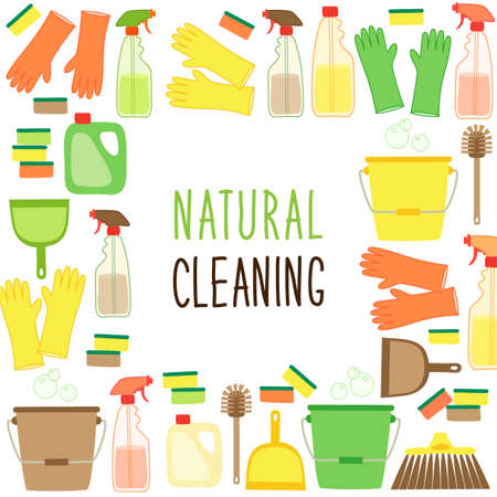 Cute eco zero waste cleaning utensils background in natural colors for your decoration Illustration
