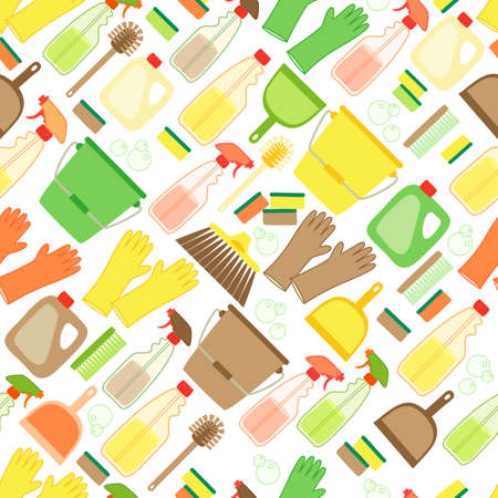 Cute eco zero waste cleaning utensils seamless pattern background in natural colors for your decoration
