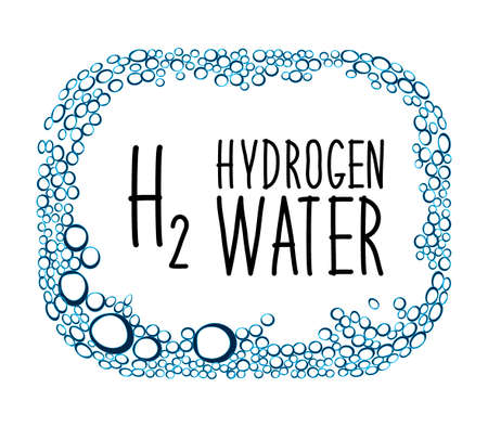 Hydrogen rich water drinking phenomenon as new technology that effects as antioxidant, concept frame background with water bulbs Vettoriali