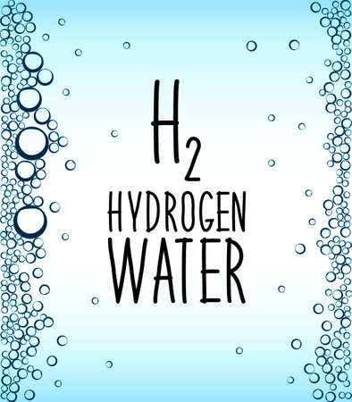 Hydrogen rich water drinking phenomenon as new technology that effects as antioxidant, concept frame background with water bulbs Çizim