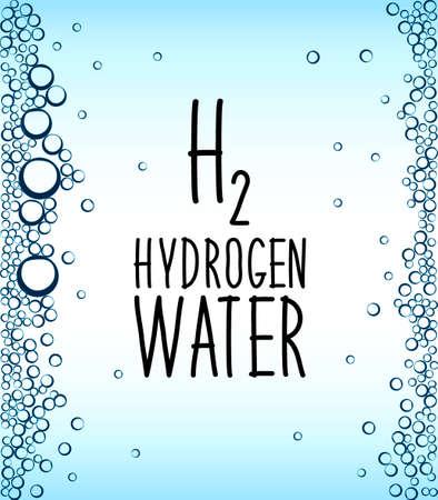 Wasserstoffreiches Wassertrinkphänomen als neue Technologie, die als Antioxidans wirkt, Konzeptrahmenhintergrund mit Wasserbirnen